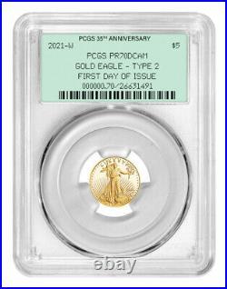 2021-W $5 Type 2 Gold Eagle PCGS PR70DCAM FDOI 35th Anniversary OGH