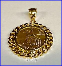 22K 1/2 OZ US American Eagle Coin -14K Yellow Gold Curb Chain Link PENDANT