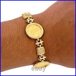 22K Gold Coin American Eagle 14K Bracelet Estate Diamond Etruscan Mens Ladies