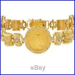 22K Gold Coin American Eagle 14K Bracelet Estate Diamond Mens Ladies Etruscan