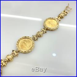 22K Gold Coin American Eagle 14K Bracelet Estate Vintage Mens Ladies Liberty