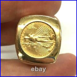 22K Solid Yellow Gold 1/10th oz. Gold 1999 American Eagle Coin 14K Gold Ring
