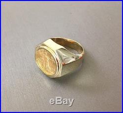 22K gold American Eagle Coin on 14K gold Ring EJR35005