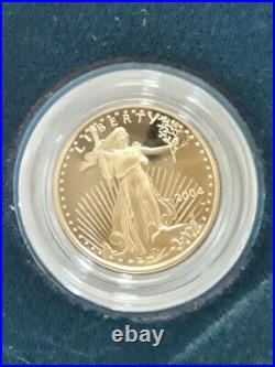 25oz 999 West Point Gold American Eagle Proof $10 Coin With Org Box Papers 2004