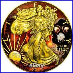 ARMAGEDDON OUTBREAK EAGLES 2017 1 Oz American Eagle Coin and 24K Gold Gilded