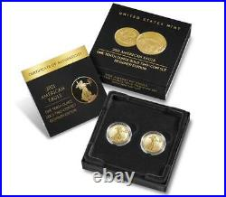 American Eagle 2021 1/10 Oz Gold Two-Coin Set Designer Edition 21XK SHIPS TODAY