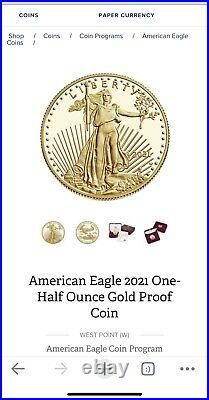 American Eagle 2021 One-Half Ounce 1/2 OZ Gold Proof Coin ORDER CONFIRMED