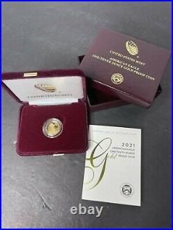 American Eagle 2021 One-Tenth Ounce Gold Proof Coin $5 West Point- In Hand 21EE