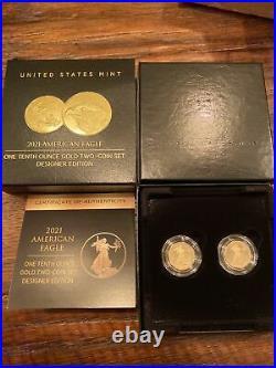 American Eagle 2021 One-Tenth Ounce Gold Two-Coin Set Designer Edition 2928/5000
