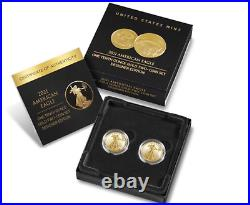 American Eagle 2021 One-Tenth Ounce Gold Two-Coin Set In hand 21XK FREE SHIP