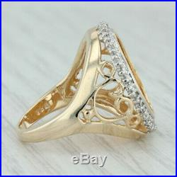 American Eagle Coin. 38ctw Diamond Halo Ring 14k Gold Size 7.25 22k $5 2002