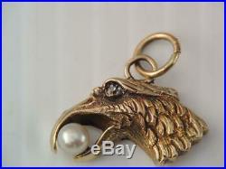 Antique Victorian 14k Solid Gold Mine Cut Diamond American Eagle Head Charm