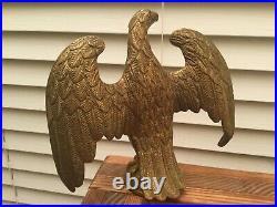 Antique/Vintage Bronze AMERICAN Eagle Finial Flag Gold Gilt Pole Topper