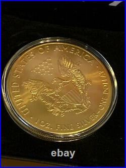 Donald Trump 2016 American Silver Eagle. 999 Le / 24k Gold Gilded & Box Le / 500