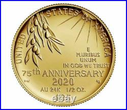 End of World War II 75th Anniversary 24-Karat 1/2oz Gold Coin ORDER CONFIRMED
