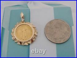 FIVE DOLLAR AMERICAN EAGLE GOLD COIN 14k Diamond BEZEL PENDANT 1/10 OZ