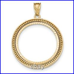 Genuine 14k Yellow Gold Beaded Prong 1/2 oz American Eagle Coin Bezel