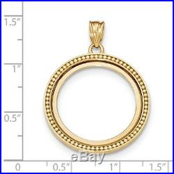 Genuine 14k Yellow Gold Beaded Prong 1/4 oz American Eagle Coin Bezel