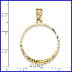 Genuine 14k Yellow Gold D/C Prong 1/2 oz American Eagle Coin Bezel