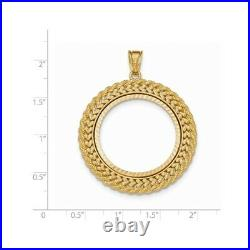 Genuine 14k Yellow Gold Double Row D/C 1/2 oz American Eagle Coin Bezel