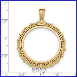 Genuine 14k Yellow Gold Fancy 1/2 oz American Eagle Coin Bezel