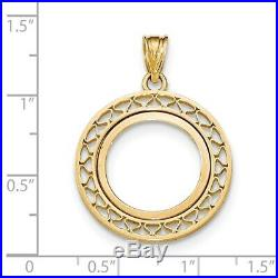 Genuine 14k Yellow Gold Fancy Wire Prong 1/10 oz American Eagle Coin Bezel