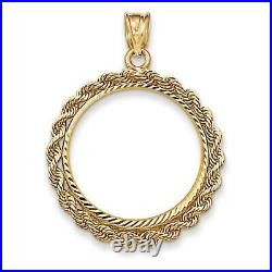 Genuine 14k Yellow Gold Rope Prong 1/4 oz American Eagle Coin Bezel