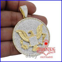 Genuine Diamond US Seal President American Eagle Pendant Charm 10K Gold Finish