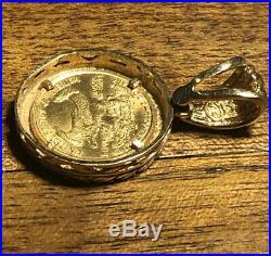 Gold Coin 2000 1/10 Ounce Gold Eagle Coin Bezel Pendant = 7.179 Grams