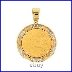 Heavy 22K Gold American Eagle Coin 1/2oz Diamond Pendant 14K Bezel Mens