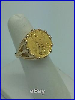 Ladies 14k Yellow Gold American Eagle 1/10 Fine 22k Gold Coin Ring Size 6 Estate