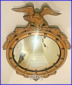 Large Antique 28 American Federal Eagle Bullseye Convex Gold Wood Wall Mirror