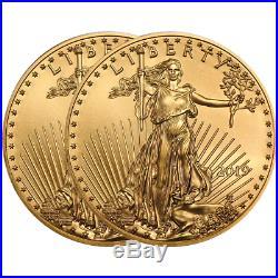Lot of 2 2019 $25 American Gold Eagle 1/2 oz Brilliant Uncirculated