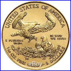 Lot of 5 2018 $5 American Gold Eagle 1/10 oz Brilliant Uncirculated