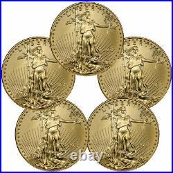 Lot of 5 2021 1/10 oz Gold American Eagle T-1 $5 Coin GEM BU