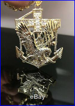 Men's New 10k Yellow Gold 26 Rope Chain 10k American Eagle Anchor, adjusted pr