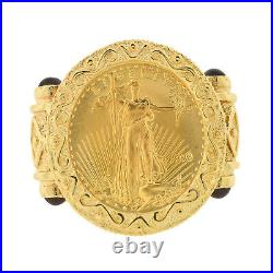 Mens Real 22k Gold Coin 14k Ring American Eagle Estate 1/10th oz Bullion Vintage