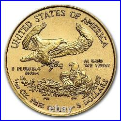 NEW 2021 $5 GOLD AMERICAN EAGLE GEM COIN (1/10th OZ. GOLD) $318.88