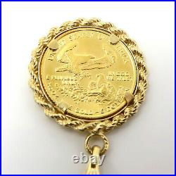 NYJEWEL 14k Gold 1/10 oz American Eagle Gold Coin Pendant Necklace