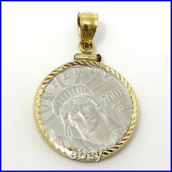 NYJEWEL 1/4 oz $25 Platinum American Eagle Coin Pendant in 14k Gold Frame