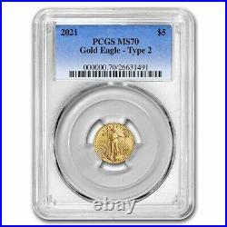 Pre-Sale 2021 1/10 oz American Gold Eagle MS-70 PCGS (Type 2)