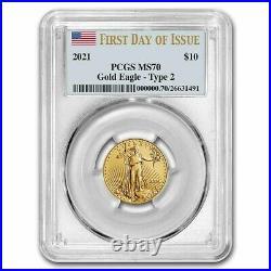 Pre-Sale 2021 1/4 oz American Gold Eagle MS-70 PCGS (FDI, Type 2) SKU#232555
