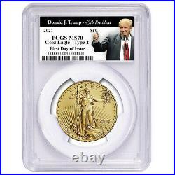 Presale- 2021 $50 Type 2 American Gold Eagle 1 oz. PCGS MS70 FDOI Trump 45th Pre