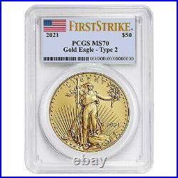 Presale- 2021 $50 Type 2 American Gold Eagle 1 oz. PCGS MS70 FS Flag Label