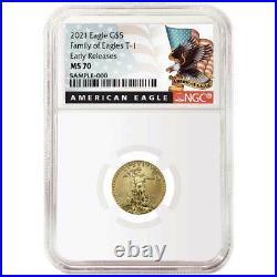 Presale 2021 $5 American Gold Eagle 1/10 oz. NGC MS70 Black ER Label