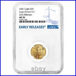 Presale 2021 $5 Type 2 American Gold Eagle 1/10 oz. NGC MS70 ER Blue Label