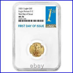 Presale- 2021 $5 Type 2 American Gold Eagle 1/10 oz. NGC MS70 FDI First Label