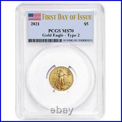 Presale 2021 $5 Type 2 American Gold Eagle 1/10 oz. PCGS MS70 FDOI Flag Label