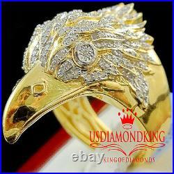 Real Diamond Mens American Eagle Falcon Bird Yellow Gold Finish Ring Pinky Band
