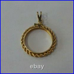 Rope Bezel Pendant For 1/4oz American Eagle Coin! 14k Yellow Gold